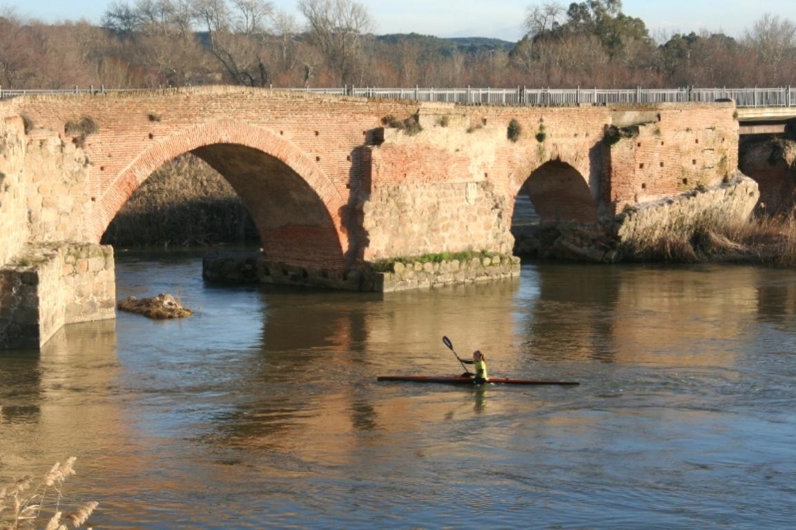 Roman Bridge with canoeists